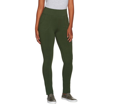 LOGO by Lori Goldstein Pull-On Knit Pants with Front Pockets