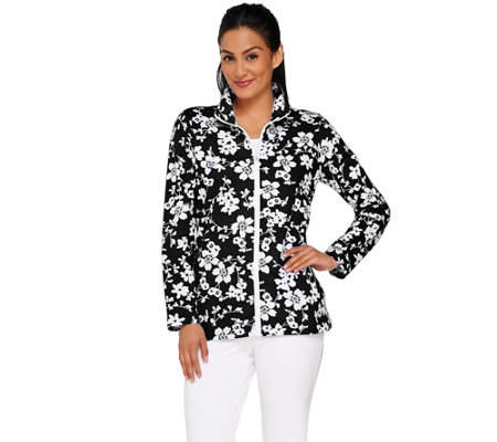 Denim & Co. Active Floral Print Zip Front Jacket
