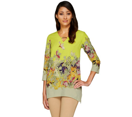 Kelly by Clinton Kelly Printed V-neck 3/4 Sleeve Tunic