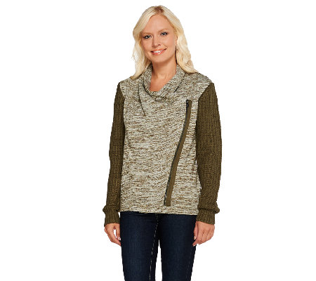 Lisa Rinna Collection Zip Front Sweater Knit Cardigan