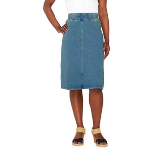 "Denim & Co. ""How Comfy"" Knit Denim Knee Length Skirt - A267686"