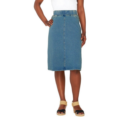 Denim & Co. Comfy Knit Denim Pull-On Knee Length Skirt
