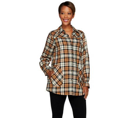 Joan Rivers Plaid Boyfriend Shirt w/ Long Sleeves