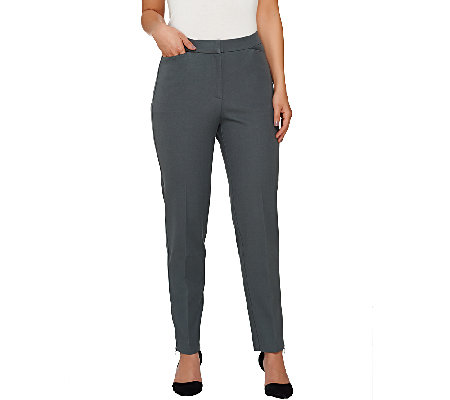 Susan Graver Multi Stretch Comfort Waist Ankle Pants w/ Zipper Detail