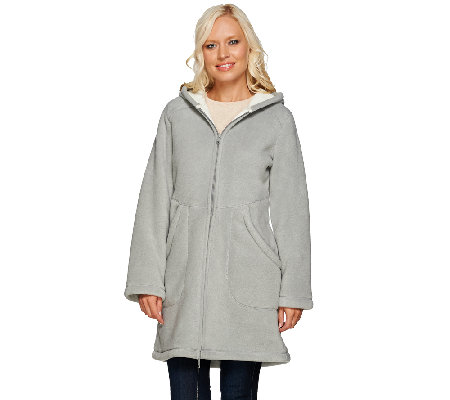 Denim &amp Co. Long Sleeve Fleece Jacket with Hood - Page 1 — QVC.com
