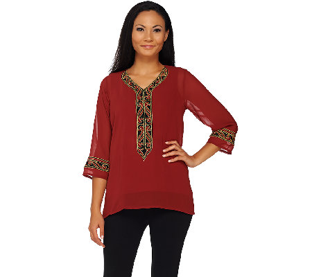 Bob Mackie's Embroidered Neckline Georgette Top