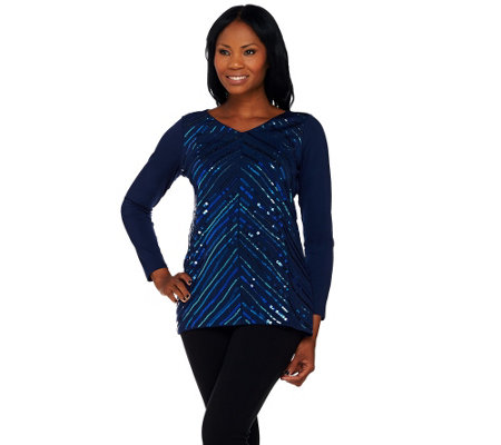Bob Mackie's Long Sleeve V-Neckline Knit Tunic with Sequin Detail