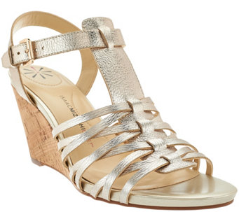 Isaac Mizrahi Live! Leather Fisherman Wedge Sandals - A272286