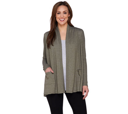 LOGO Lounge by Lori Goldstein French Terry Cardigan with Thermal Sleeves
