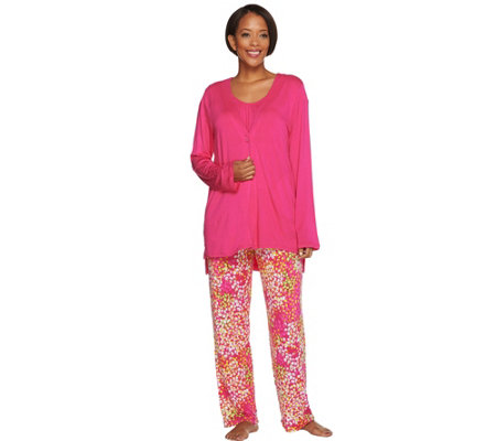 Carole Hochman Abstract Hydrangea Rayon Spandex 3 Pc Pajama Set