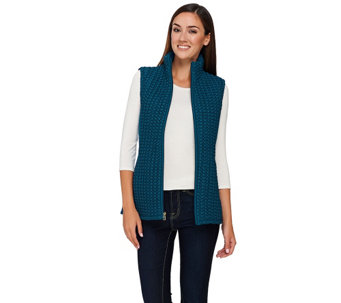 """As Is"" Susan Graver Zip Front Textured Vest with Pockets - A275186"
