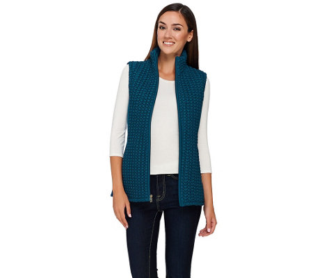 """As Is"" Susan Graver Zip Front Textured Vest with Pockets"