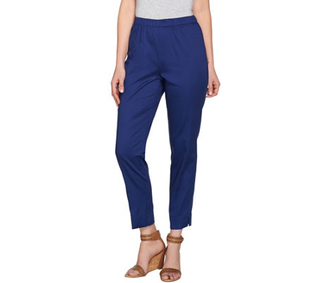 C. Wonder Stretch Cotton Sateen Pull-On Ankle Pants