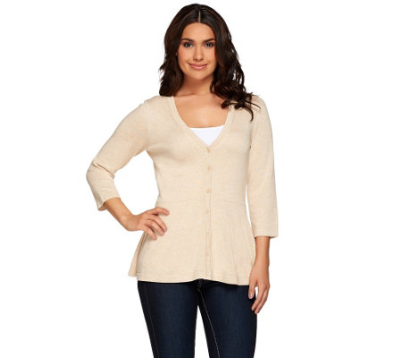 """As Is"" Isaac Mizrahi Live! Peplum V-Neck Cardigan"
