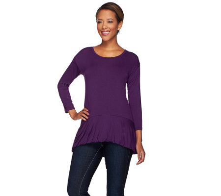 """As Is"" LOGO by Lori Goldstein Knit Top with Hi-Low Bubble Hem"
