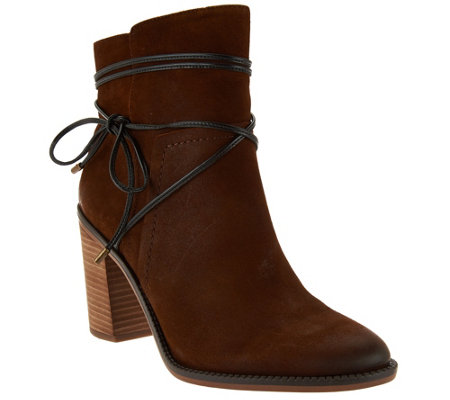 Franco Sarto Block Heel Ankle Boots w/ Strap Detail - Edaline