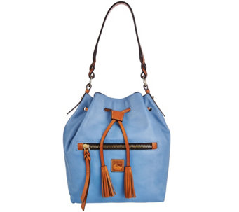 """As Is"" Dooney & Bourke Logan Leather Drawstring Bag - A282586"