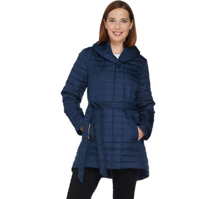 H by Halston Quilted Down Water Repellant Shawl Collar Coat