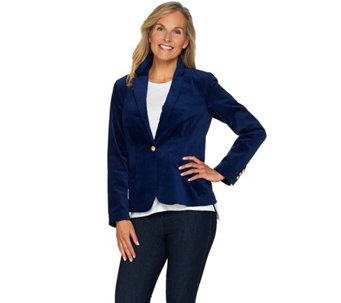 C. Wonder Velvet Blazer with Printed Lining - A284186