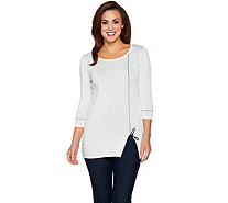 Attitudes by Renee 3/4 Sleeve Jacquard Scissor Sweater - A284286