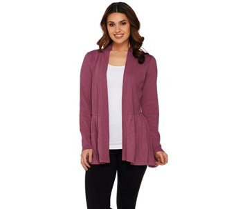 """As Is"" LOGO by Lori Goldstein Ribbed Slub Cardigan with Back Embroidery - A284486"