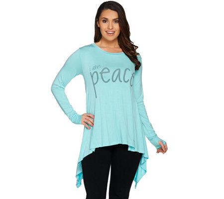 Peace Love World Long Sleeve Knit Top with Asymmetric Hem
