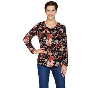Denim & Co. Printed Woven V Neck Blouse - A285986