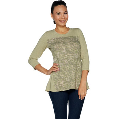 LOGO Lounge by Lori Goldstein French Terry Top with Print and Godets