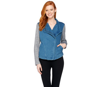 Lisa Rinna Collection Denim Jacket with French Terry Sleeves - A287386