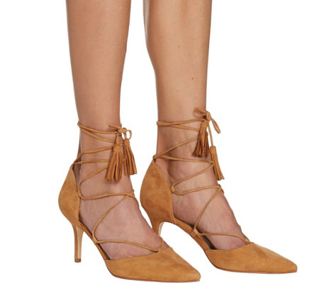 Marc Fisher Suede Pointed Toe Lace-Up Pumps - Tamya