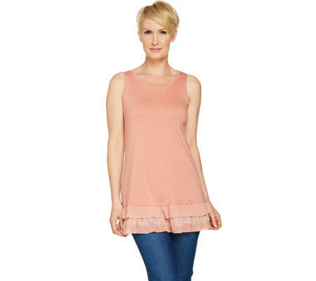 LOGO by Lori Goldstein Solid Tank with Tiered Chiffon & Lace Hem
