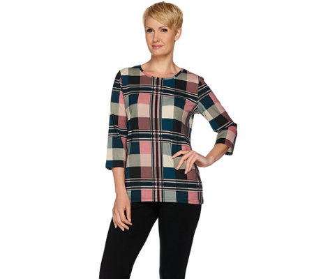"""As Is"" Denim & Co. Plaid Printed 3/4 Sleeve Top"