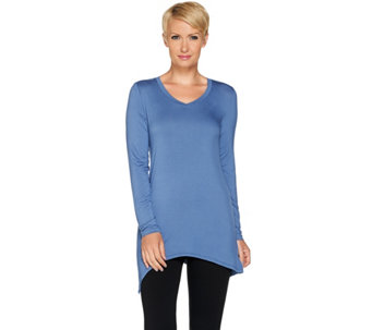"""As Is"" LOGO Layers by Lori Goldstein Knit Top with Asymmetric Hem - A289486"