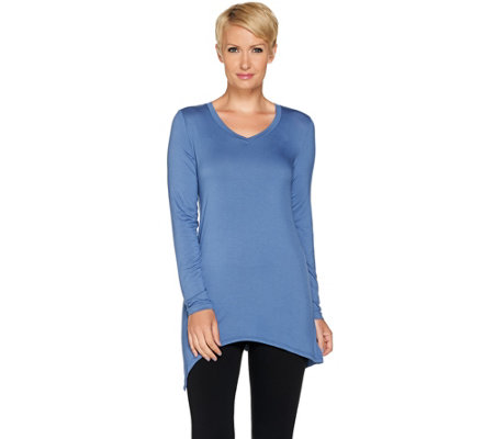 """As Is"" LOGO Layers by Lori Goldstein Knit Top with Asymmetric Hem"