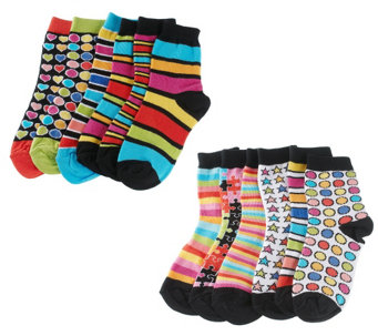 """As Is"" little missmatched CrazyCoordinate Stripes & Dots Crew Socks - A289786"