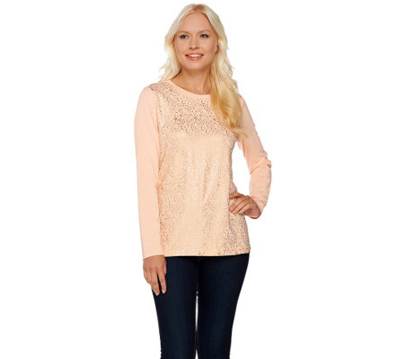 """As Is"" Isaac Mizrahi Live! Foil Printed Long Sleeve Knit T-Shirt"