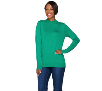 """As Is"" Denim & Co. Essentials Mock Neck Sweater with Seaming Detail - A290586"