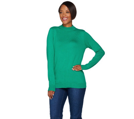 """As Is"" Denim & Co. Essentials Mock Neck Sweater with Seaming Detail"