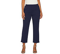 Dennis Basso Caviar Crepe Knit Pull On Ankle Pants - A292086