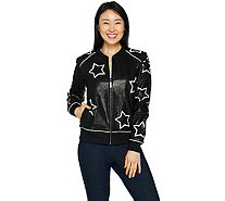 Peace Love World Star Applique Leather Jacket w/ Affirmation - A295086