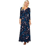 Du Jour Regular Printed Faux Wrap Knit Maxi Dress - A295386