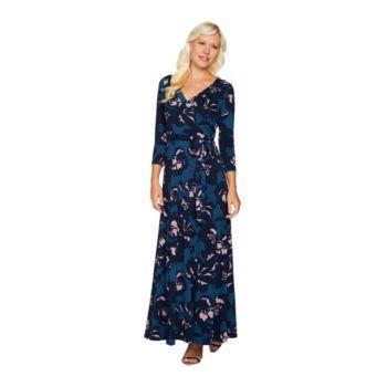 Du Jour Regular Printed Faux Wrap Knit Maxi Dress