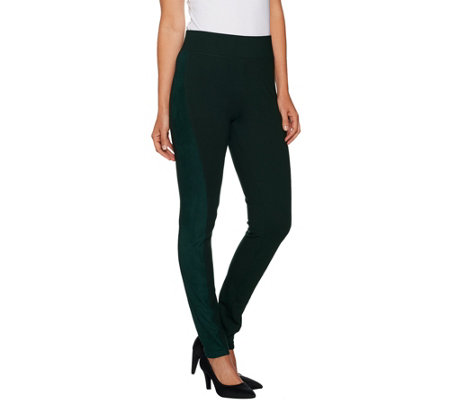 LOGO by Lori Goldstein Solid Ponte Pant with Faux Suede Panels