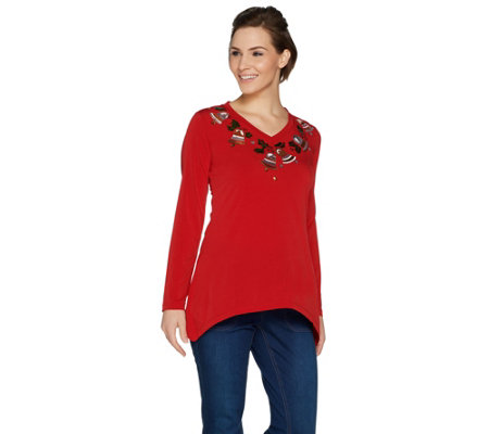 Quacker Factory Holly Jolly Sequin Trapeze Hem Jersey Knit Top