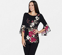 Susan Graver Printed Liquid Knit Tunic w/ Sheer Chiffon Sleeves - A298486