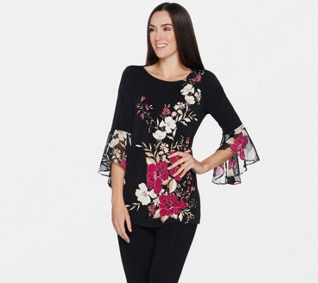 Susan Graver Printed Liquid Knit Tunic w/ Sheer Chiffon Sleeves