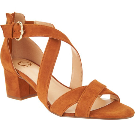 """As Is"" C. Wonder Suede Cross Band Sandals with Block Heel"
