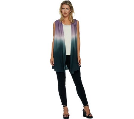 """As Is"" LOGO by Lori Goldstein Cascade Front Print Tie Dye Vest"