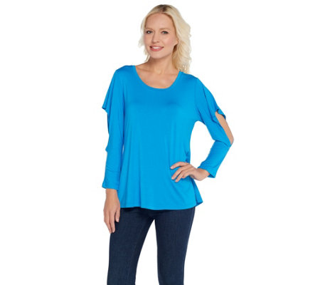H by Halston Scoop Neck Knit Top with Cut-Away Flounce Sleeves