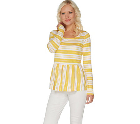 Du Jour Stripe Printed Long Sleeve Knit Peplum Top
